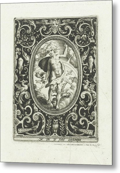 The Element Of Air As A Young Man Standing On Clouds Metal Print by Nicolaes De Bruyn