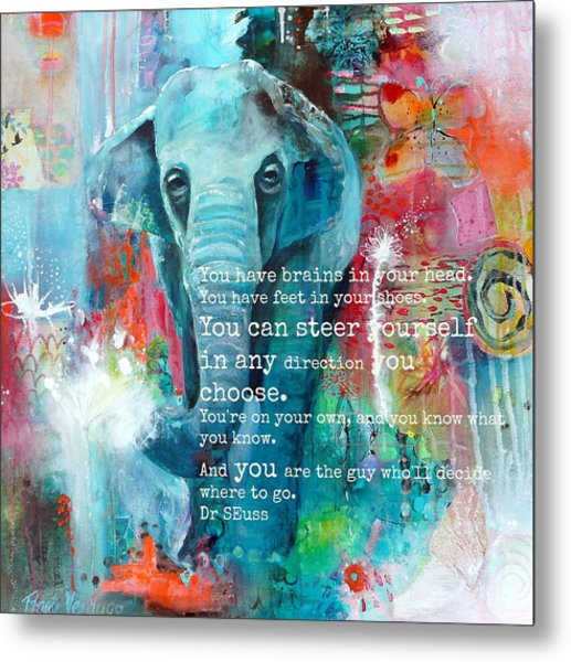 The Elephant And The Butterfly Drseuss Quote Metal Print