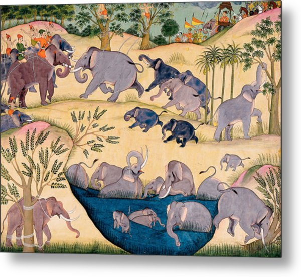 The Elephant Hunt Metal Print