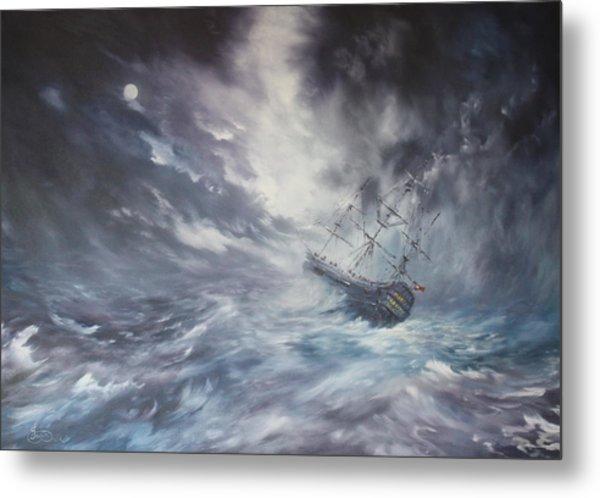The Endeavour On Stormy Seas Metal Print