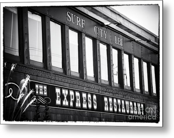 The Express Restaurant Black And White Metal Print