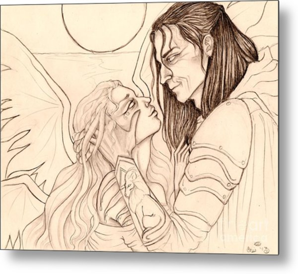 The Faery Maiden And The Knight Sketch Metal Print by Coriander  Shea