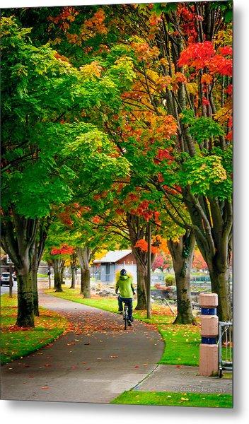 The Fall Bike Ride Metal Print