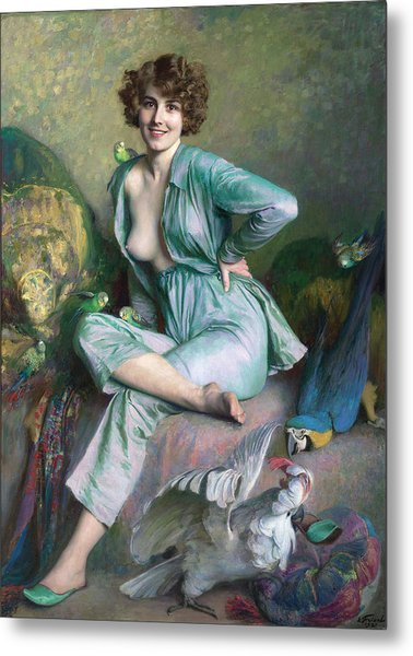 Metal Print featuring the painting The Familiar Birds by Emile Friant