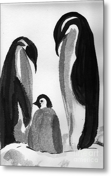 Happy Feet -the Family Of Penguins Metal Print