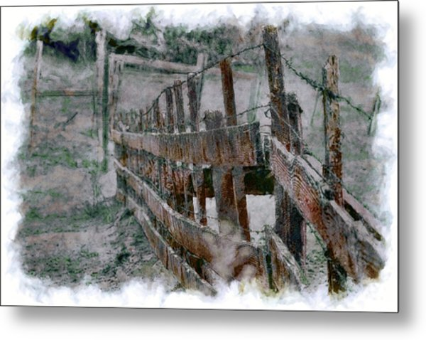 The Fence Down There Metal Print