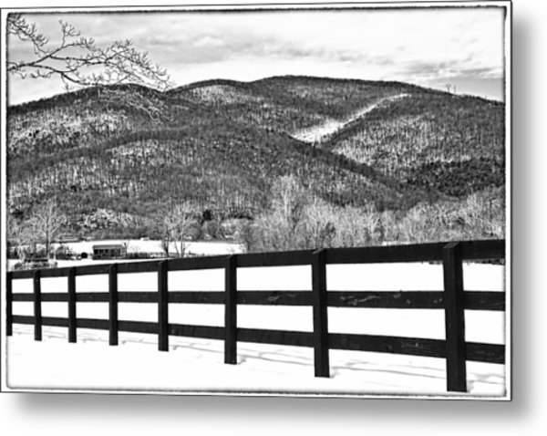 Metal Print featuring the photograph The Fenceline B W by Jemmy Archer