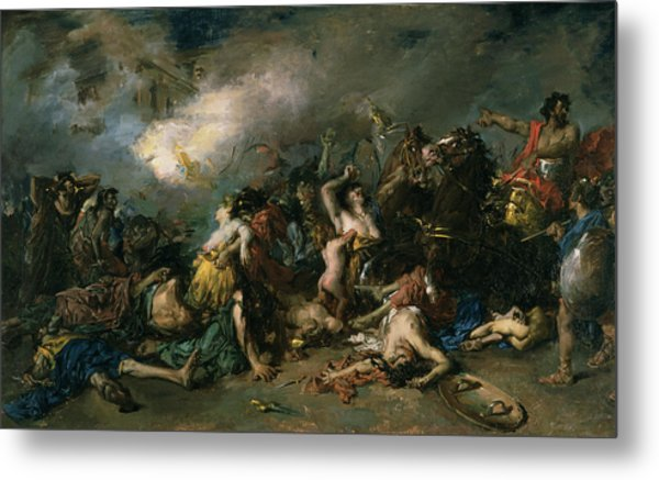 The Final Day Of Sagunto In 219bc, 1869 Oil On Canvas Metal Print