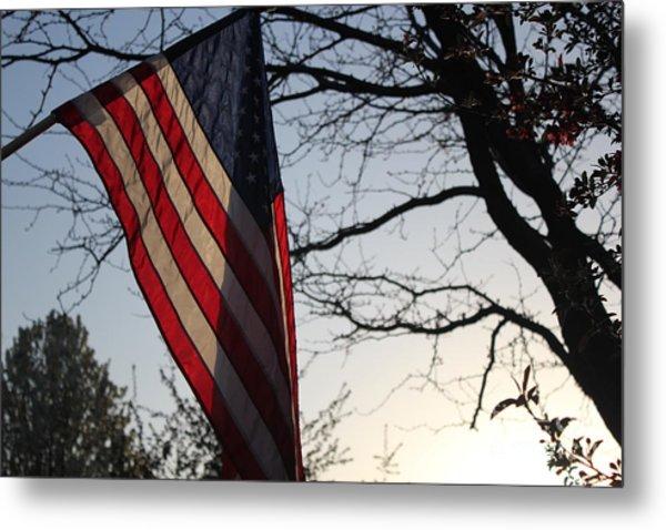 The Flag At Sunset Metal Print