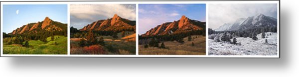 The Flatirons - Four Seasons Panorama Metal Print