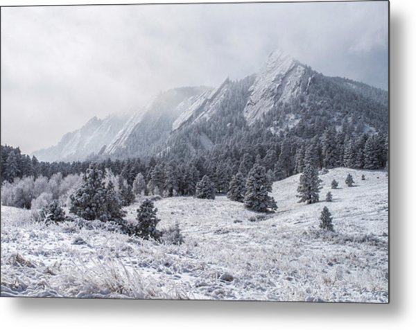 The Flatirons - Winter Metal Print