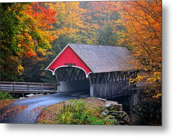 The Flume Covered Bridge Metal Print