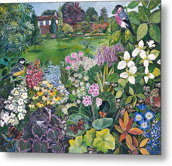 The Garden With Birds And Butterflies Metal Print