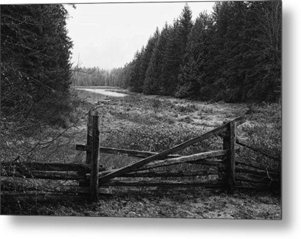The Gate In Black And White Metal Print