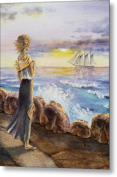 The Girl And The Ocean Metal Print