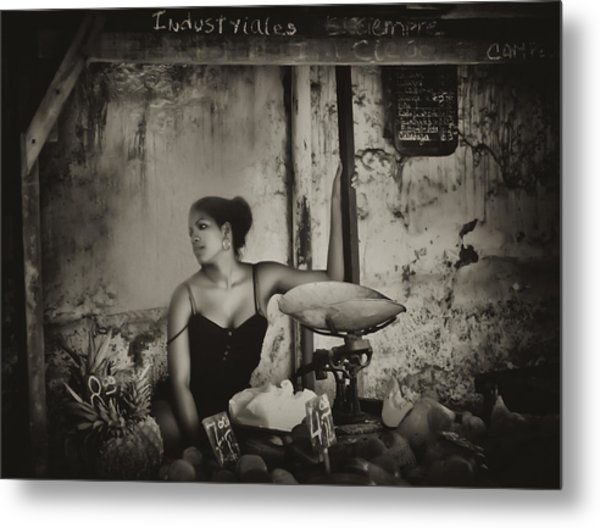 The Girl In The Market Metal Print