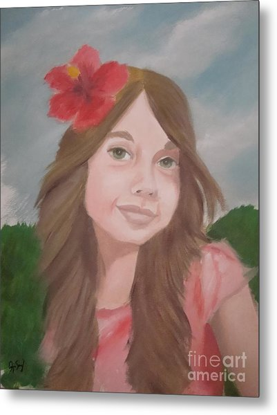 The Girl With The Red Flower II Metal Print by Angela Melendez