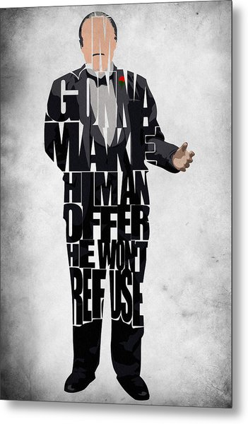 The Godfather Inspired Don Vito Corleone Typography Artwork Metal Print