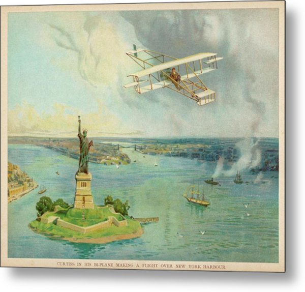The 'gold Bug' Biplane  Designed Metal Print by Mary Evans Picture Library
