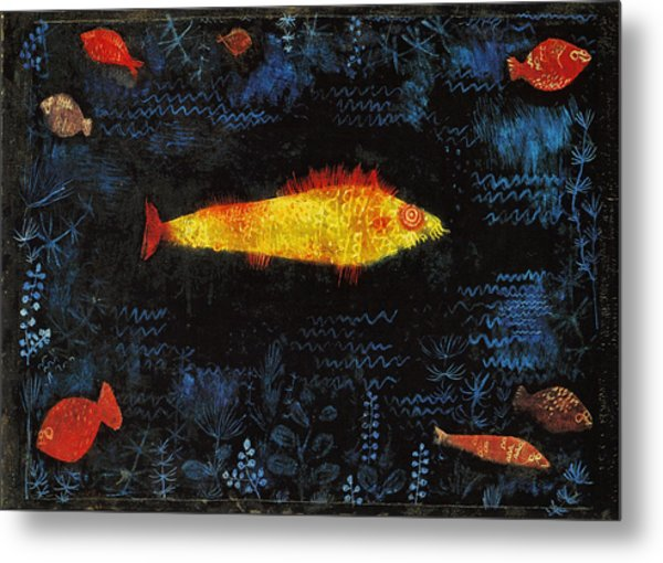 Metal Print featuring the painting The Goldfish by Paul Klee