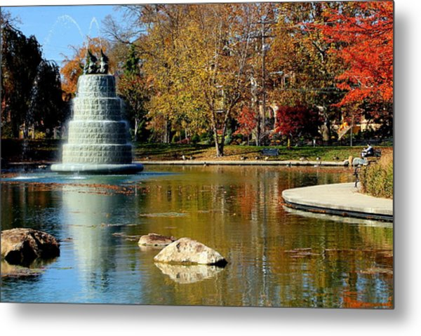The Goodale Park  Fountain Metal Print