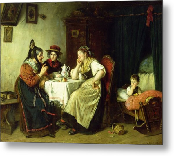 The Gossips, 1887 Oil On Canvas Metal Print