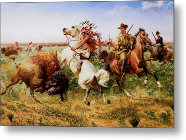 The Great Royal Buffalo Hunt Metal Print by Louis Maurer