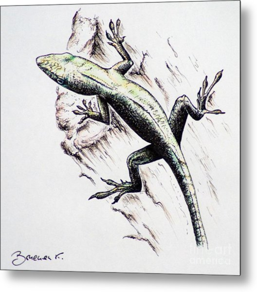 The Green Lizard Metal Print