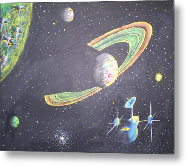 The Green Solar System Metal Print
