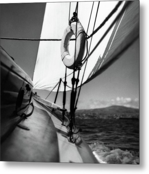 The Gunwale Of A Sailboat Metal Print