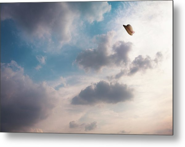 The Hat Flying In The Sky Metal Print