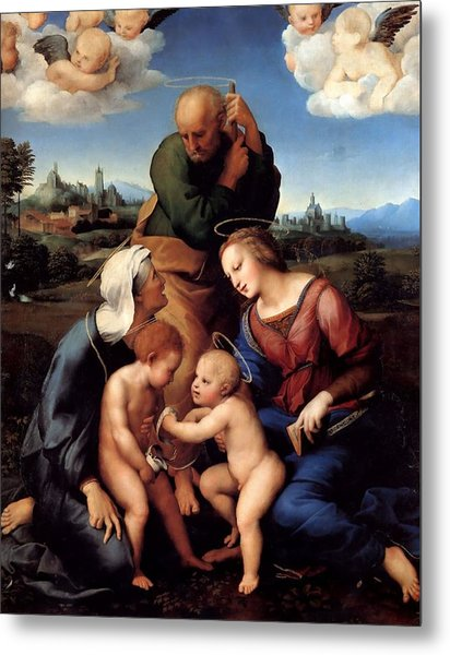The Holy Family With Saints Elizabeth And John Metal Print