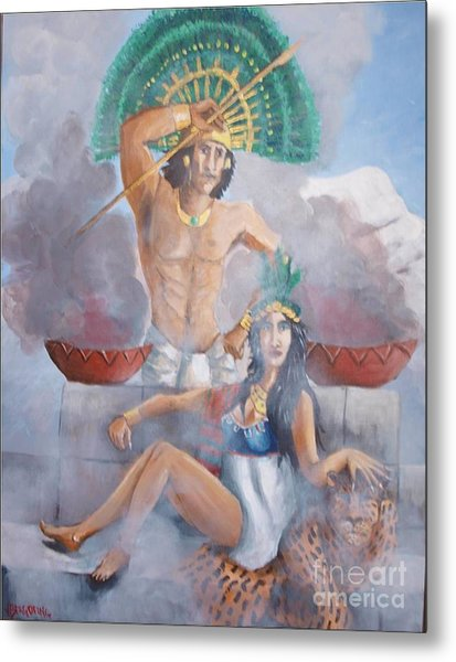 The Huey Tlatoni Or Emperor And Wife Metal Print