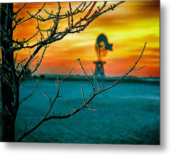 The Ice And The Windmill Metal Print