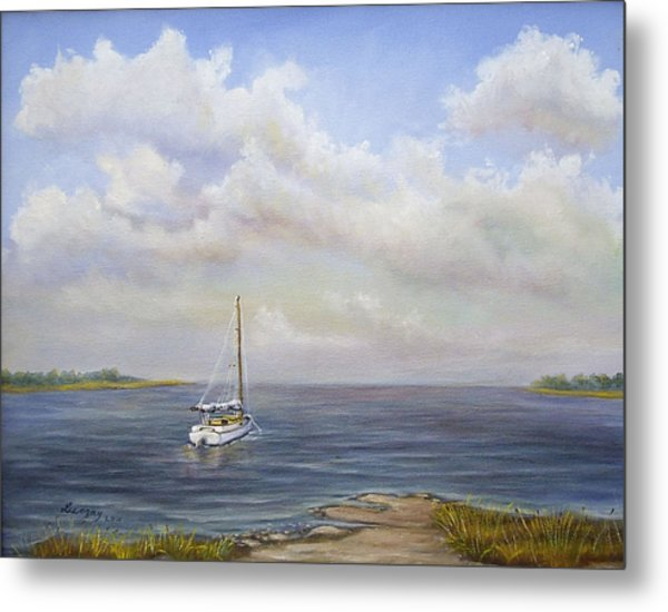 Metal Print featuring the painting The Inlet by Katalin Luczay