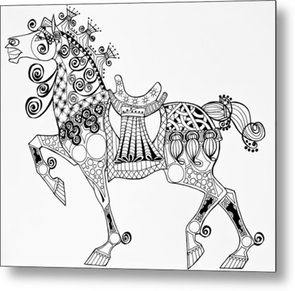 Metal Print featuring the drawing The King's Horse - Zentangle by Jani Freimann