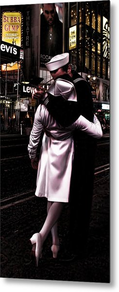 The Kiss In Times Square Metal Print