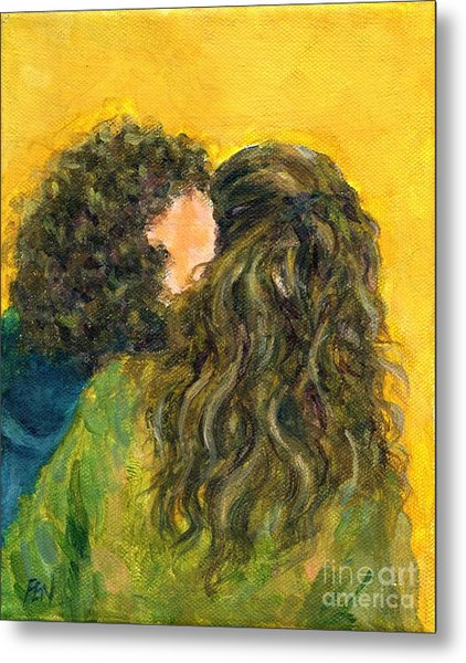 The Kiss Of Two Curly Haired Lovers Metal Print