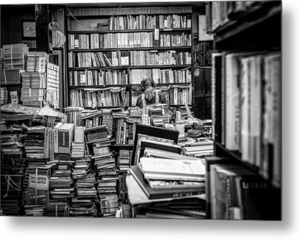 The Lady And Her Shelfs Metal Print