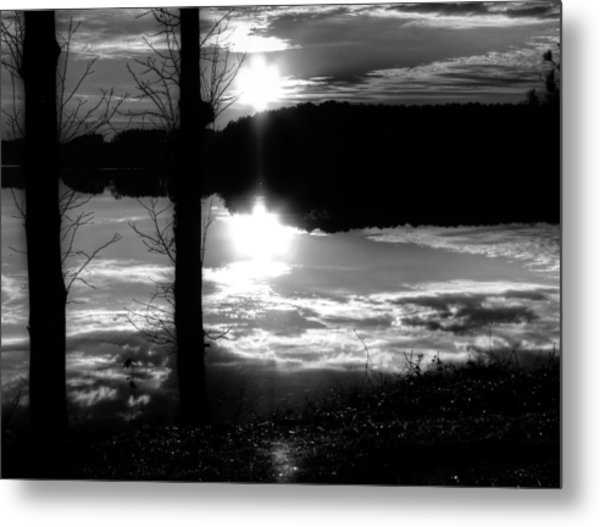 The Lake - Black And White Metal Print