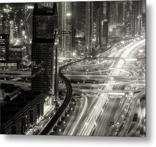 The Light River Of Dubai Metal Print by Ahmed Thabet