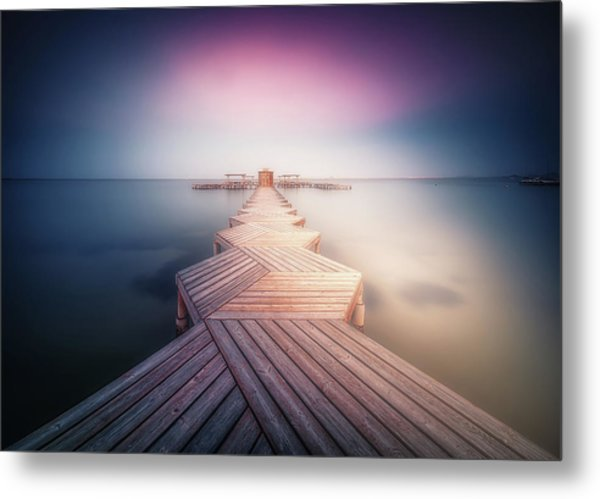 The Lighted Pier. Metal Print