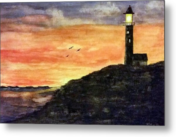 The Lighthouse At Dusk Metal Print