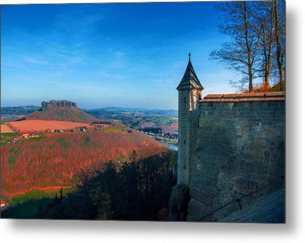 The Lilienstein Behind The Fortress Koenigstein Metal Print