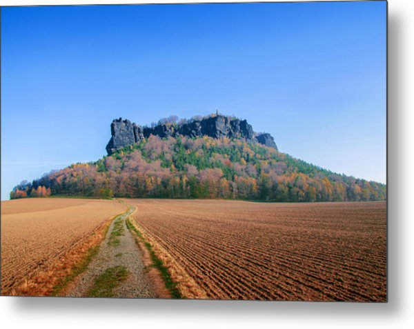 The Lilienstein On An Autumn Morning Metal Print