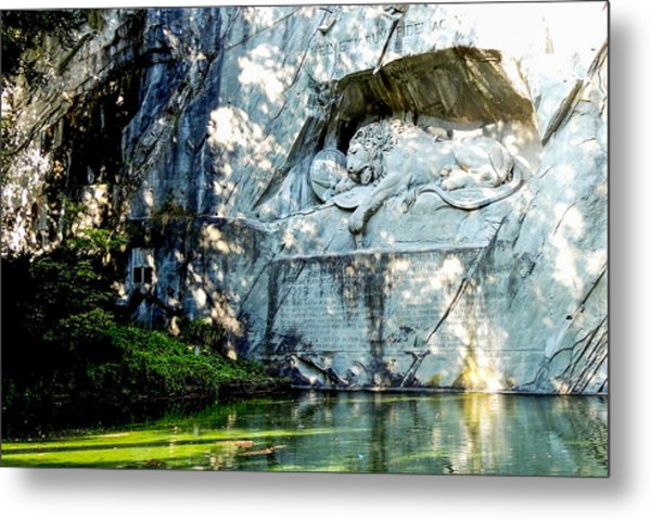 The Lion Monument In Lucerne Switzerland Metal Print