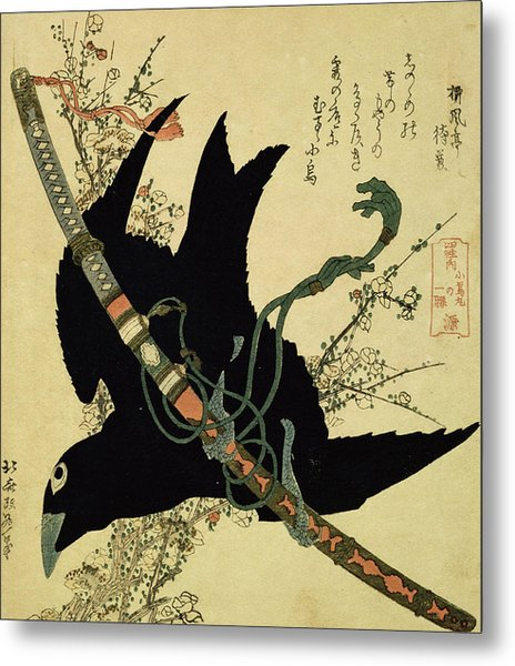 The Little Raven With The Minamoto Clan Sword Metal Print