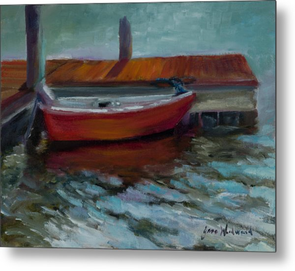 The Little Red Boat Metal Print by Jane Woodward