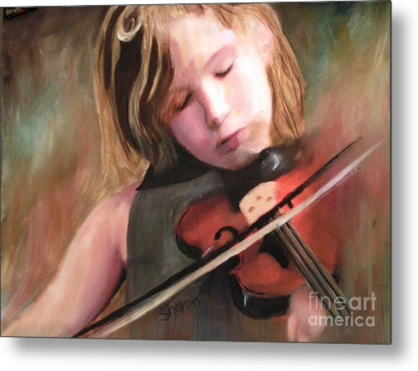 The Little Violinist Metal Print by Sharon Burger