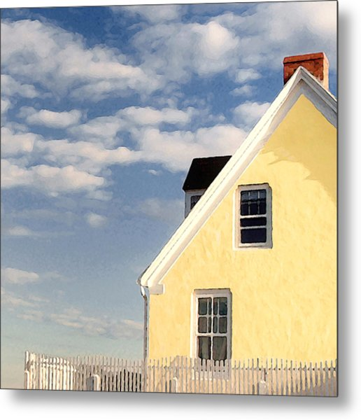 The Little Yellow House At The Seawall Metal Print